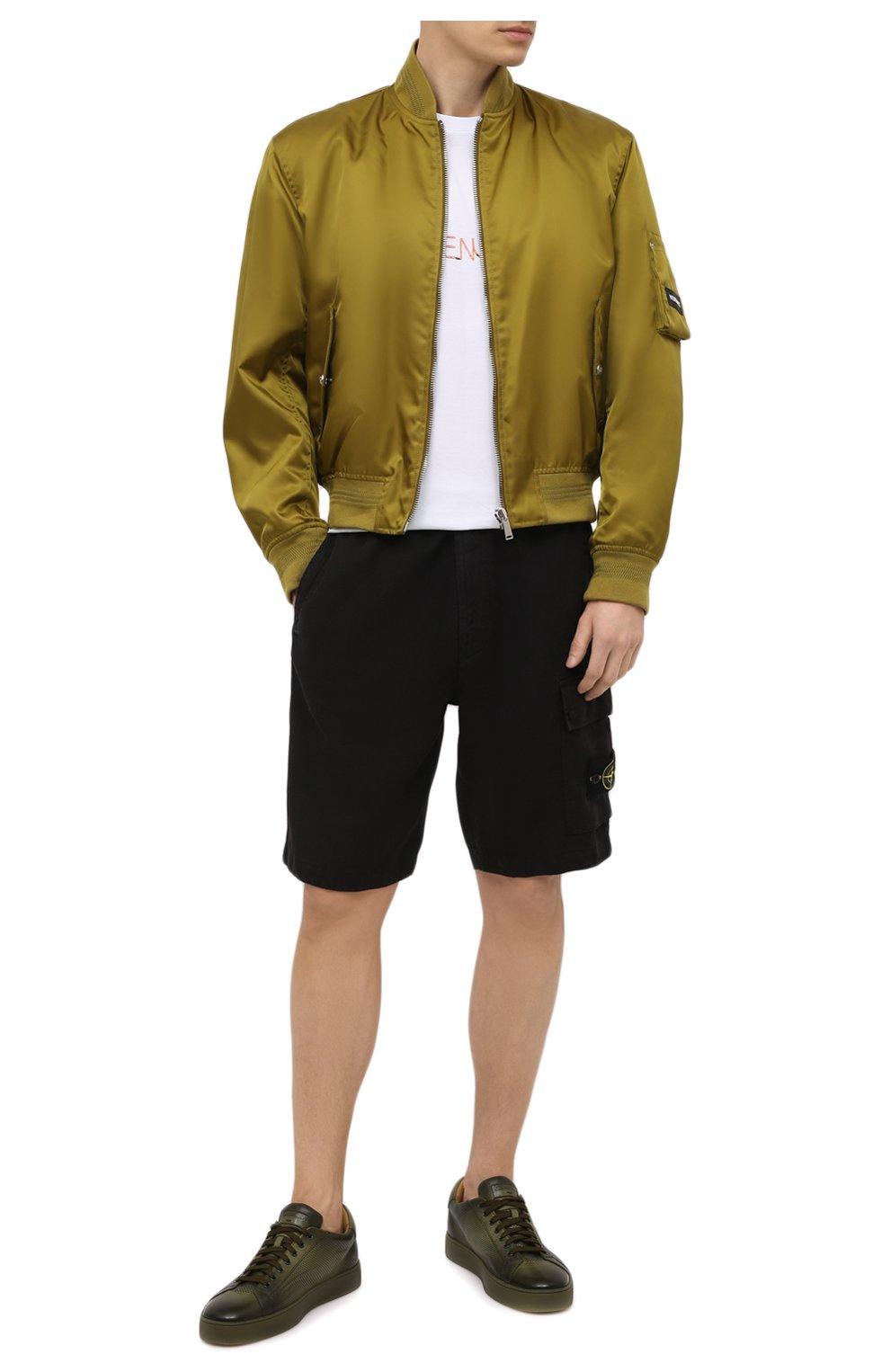 Мужские льняные шорты STONE ISLAND черного цвета, арт. 7415L1201 | Фото 2