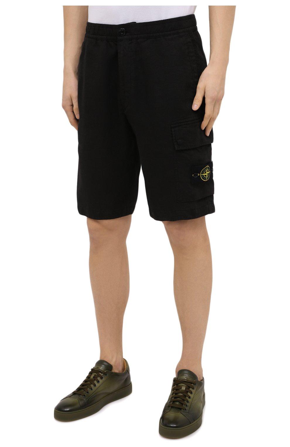 Мужские льняные шорты STONE ISLAND черного цвета, арт. 7415L1201 | Фото 3