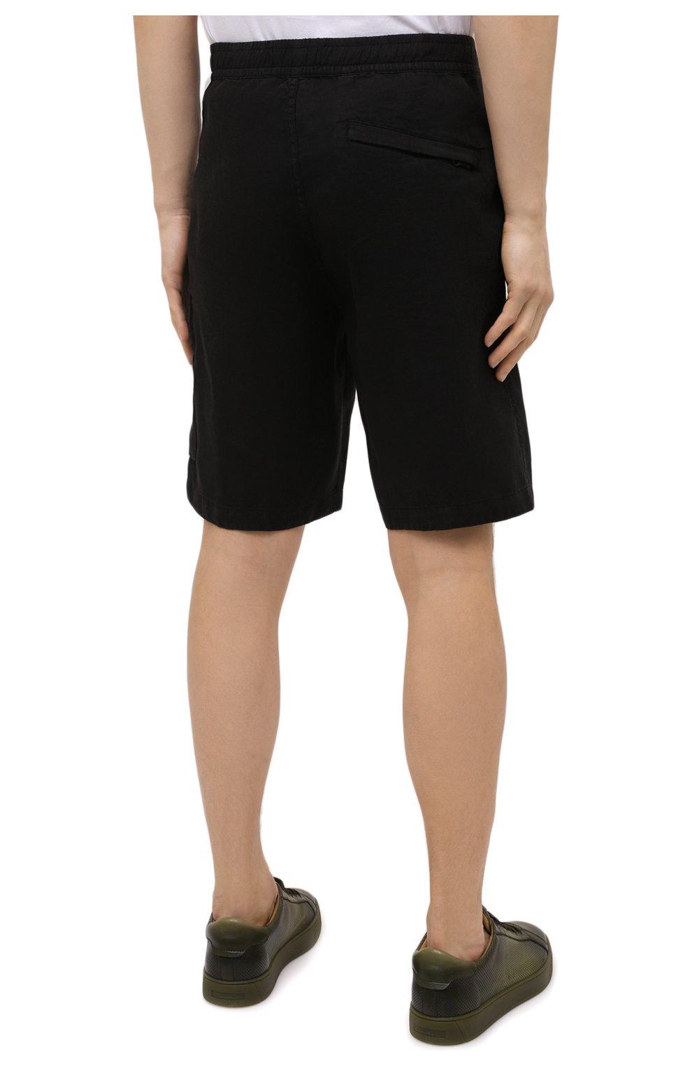 Мужские льняные шорты STONE ISLAND черного цвета, арт. 7415L1201 | Фото 4