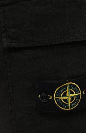 Мужские льняные шорты STONE ISLAND черного цвета, арт. 7415L1201 | Фото 5