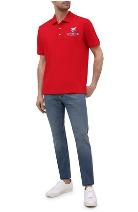 Мужское хлопковое поло PAUL&SHARK красного цвета, арт. 21411237/C00 | Фото 2
