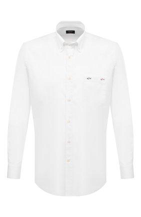 Мужская хлопковая рубашка PAUL&SHARK белого цвета, арт. 21413200/C00 | Фото 1