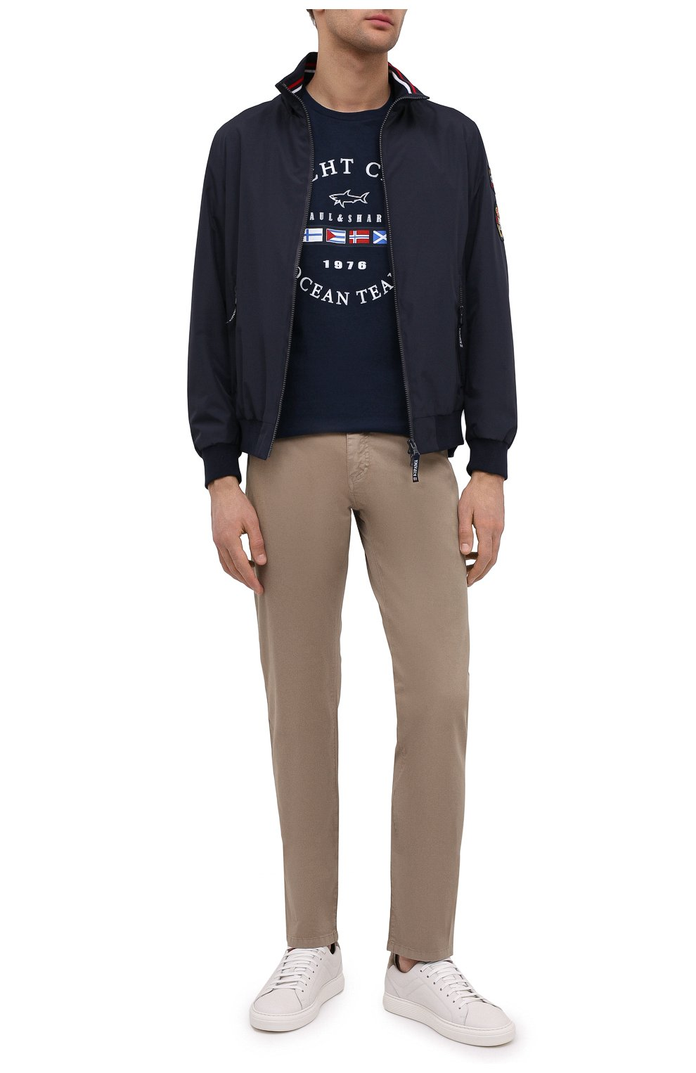 Мужские хлопковые брюки PAUL&SHARK светло-коричневого цвета, арт. C0P4001/FEF   Фото 2