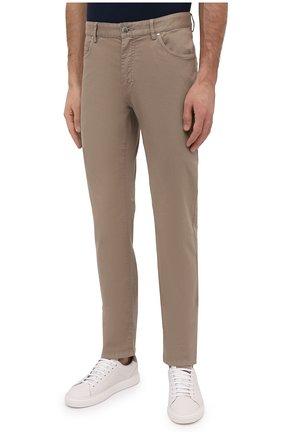Мужские хлопковые брюки PAUL&SHARK светло-коричневого цвета, арт. C0P4001/FEF   Фото 3