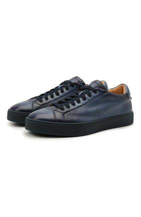 Мужские кожаные кеды SANTONI темно-синего цвета, арт. MBGL21066TINMFG0U38 | Фото 1