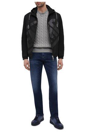 Мужские кожаные кеды SANTONI темно-синего цвета, арт. MBGL21066TINMFG0U38 | Фото 2