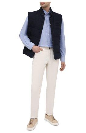 Мужская хлопковая рубашка KENZO синего цвета, арт. FB55CH4001LD | Фото 2