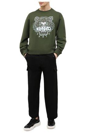 Мужской хлопковый свитшот KENZO хаки цвета, арт. FB55SW1104XA | Фото 2