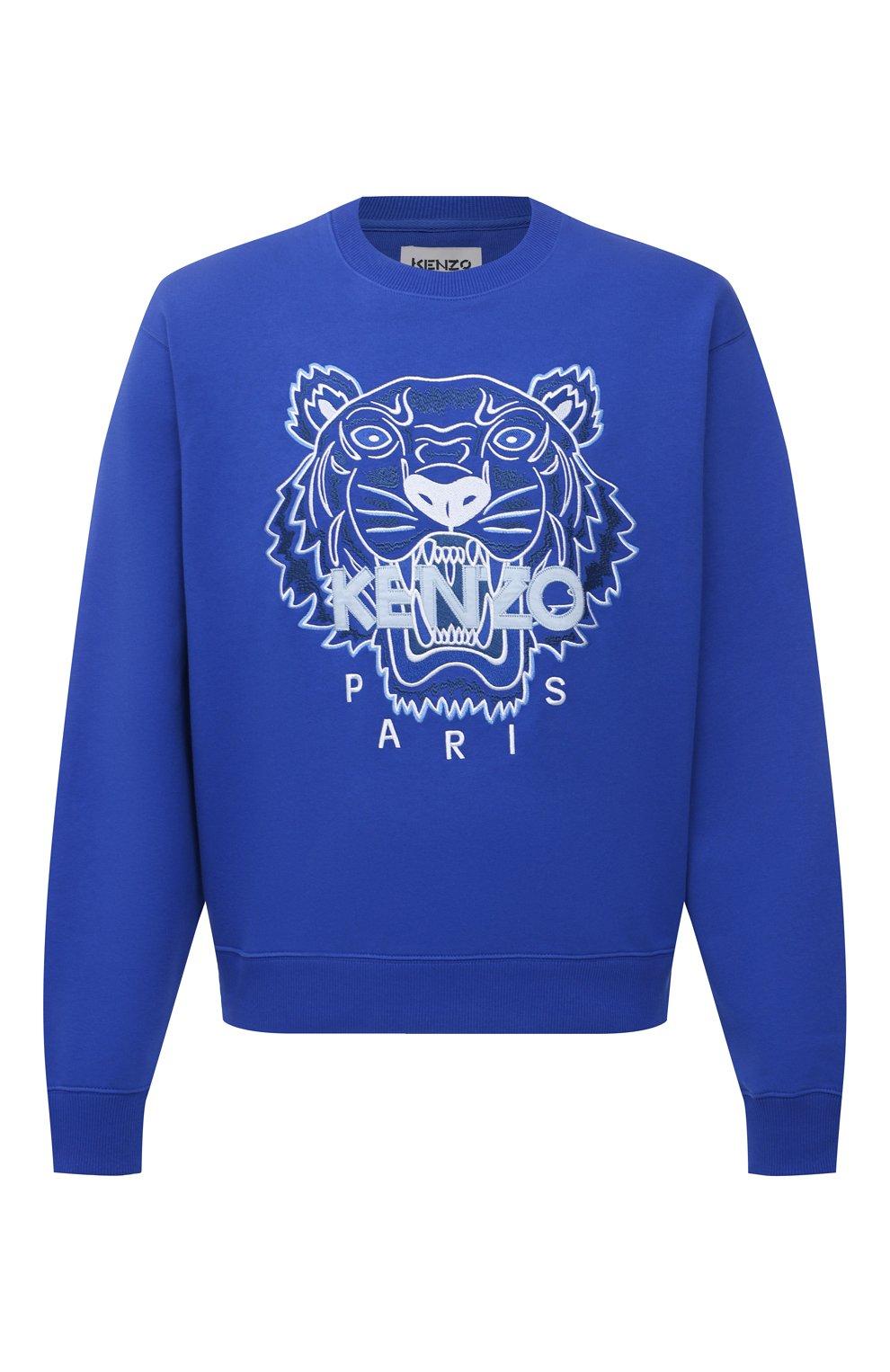 Мужской хлопковый свитшот KENZO синего цвета, арт. FB55SW1104XA   Фото 1 (Рукава: Длинные; Длина (для топов): Стандартные; Стили: Гранж; Принт: С принтом; Мужское Кросс-КТ: свитшот-одежда; Материал внешний: Хлопок)