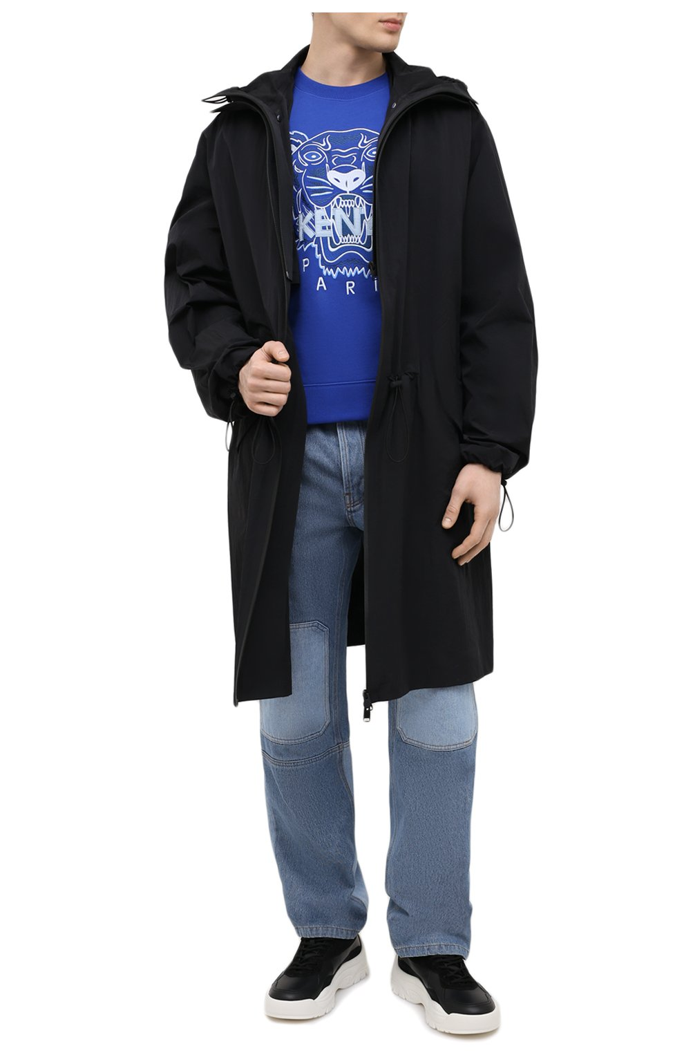 Мужской хлопковый свитшот KENZO синего цвета, арт. FB55SW1104XA   Фото 2 (Рукава: Длинные; Длина (для топов): Стандартные; Стили: Гранж; Принт: С принтом; Мужское Кросс-КТ: свитшот-одежда; Материал внешний: Хлопок)