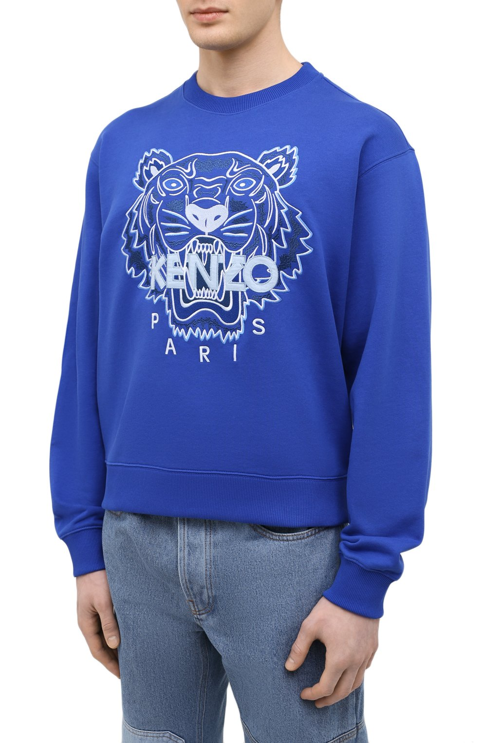 Мужской хлопковый свитшот KENZO синего цвета, арт. FB55SW1104XA   Фото 3 (Рукава: Длинные; Длина (для топов): Стандартные; Стили: Гранж; Принт: С принтом; Мужское Кросс-КТ: свитшот-одежда; Материал внешний: Хлопок)