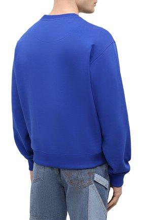 Мужской хлопковый свитшот KENZO синего цвета, арт. FB55SW1104XA   Фото 4 (Рукава: Длинные; Длина (для топов): Стандартные; Стили: Гранж; Принт: С принтом; Мужское Кросс-КТ: свитшот-одежда; Материал внешний: Хлопок)