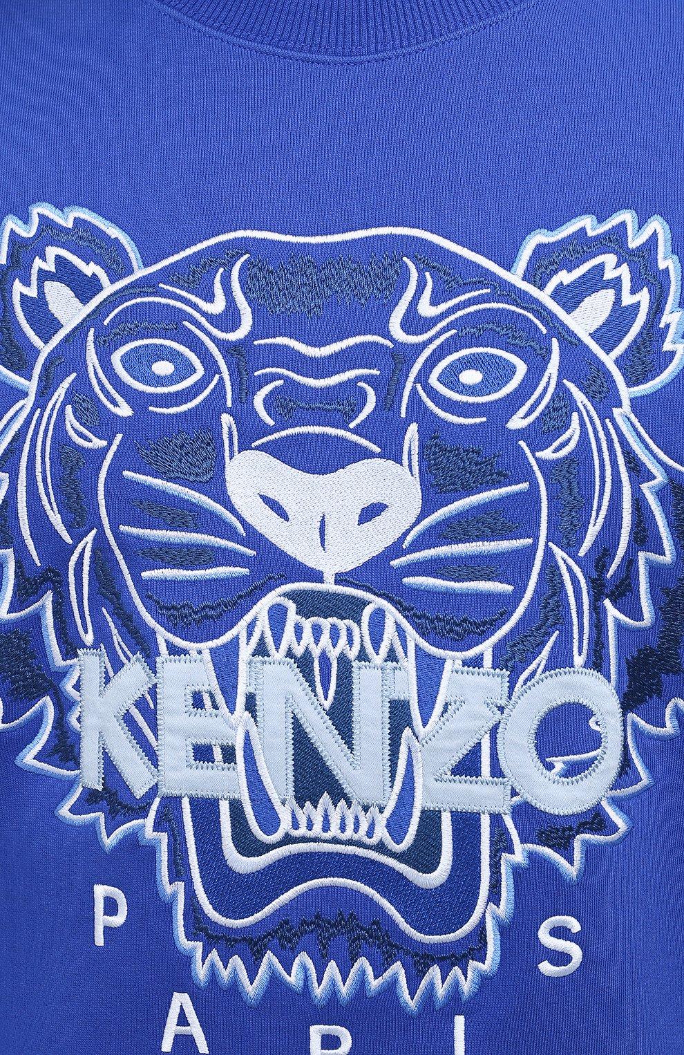Мужской хлопковый свитшот KENZO синего цвета, арт. FB55SW1104XA   Фото 5 (Рукава: Длинные; Длина (для топов): Стандартные; Стили: Гранж; Принт: С принтом; Мужское Кросс-КТ: свитшот-одежда; Материал внешний: Хлопок)