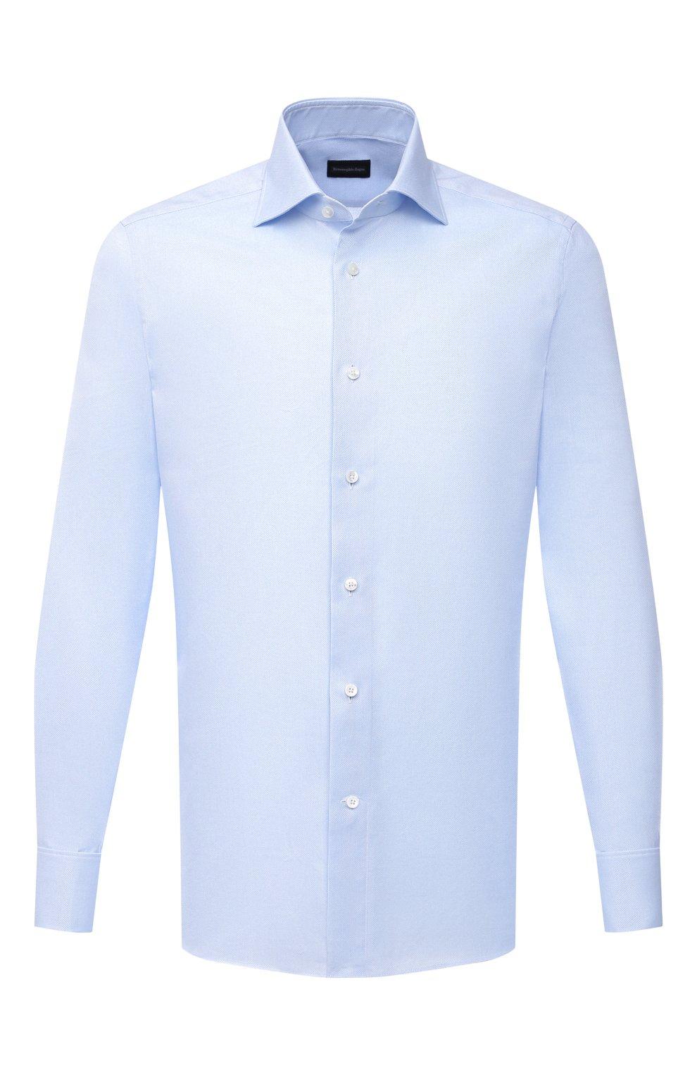 Мужская хлопковая сорочка ERMENEGILDO ZEGNA голубого цвета, арт. 903902/9MS4BA | Фото 1
