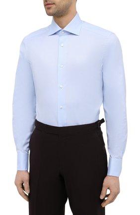 Мужская хлопковая сорочка ERMENEGILDO ZEGNA голубого цвета, арт. 903902/9MS4BA | Фото 3