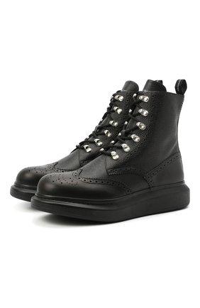 Мужские кожаные ботинки ALEXANDER MCQUEEN черного цвета, арт. 645906/WHWX1 | Фото 1