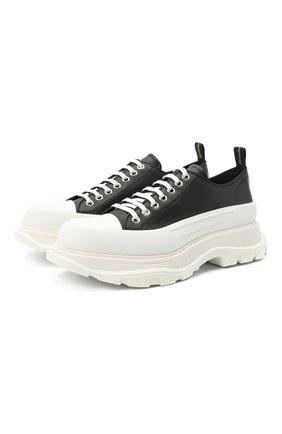 Мужские кожаные кроссовки ALEXANDER MCQUEEN черно-белого цвета, арт. 627225/WHZ62 | Фото 1 (Подошва: Массивная; Материал внутренний: Натуральная кожа; Стили: Гранж)