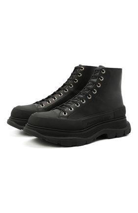 Мужские кожаные ботинки ALEXANDER MCQUEEN черного цвета, арт. 627206/WHZ62 | Фото 1