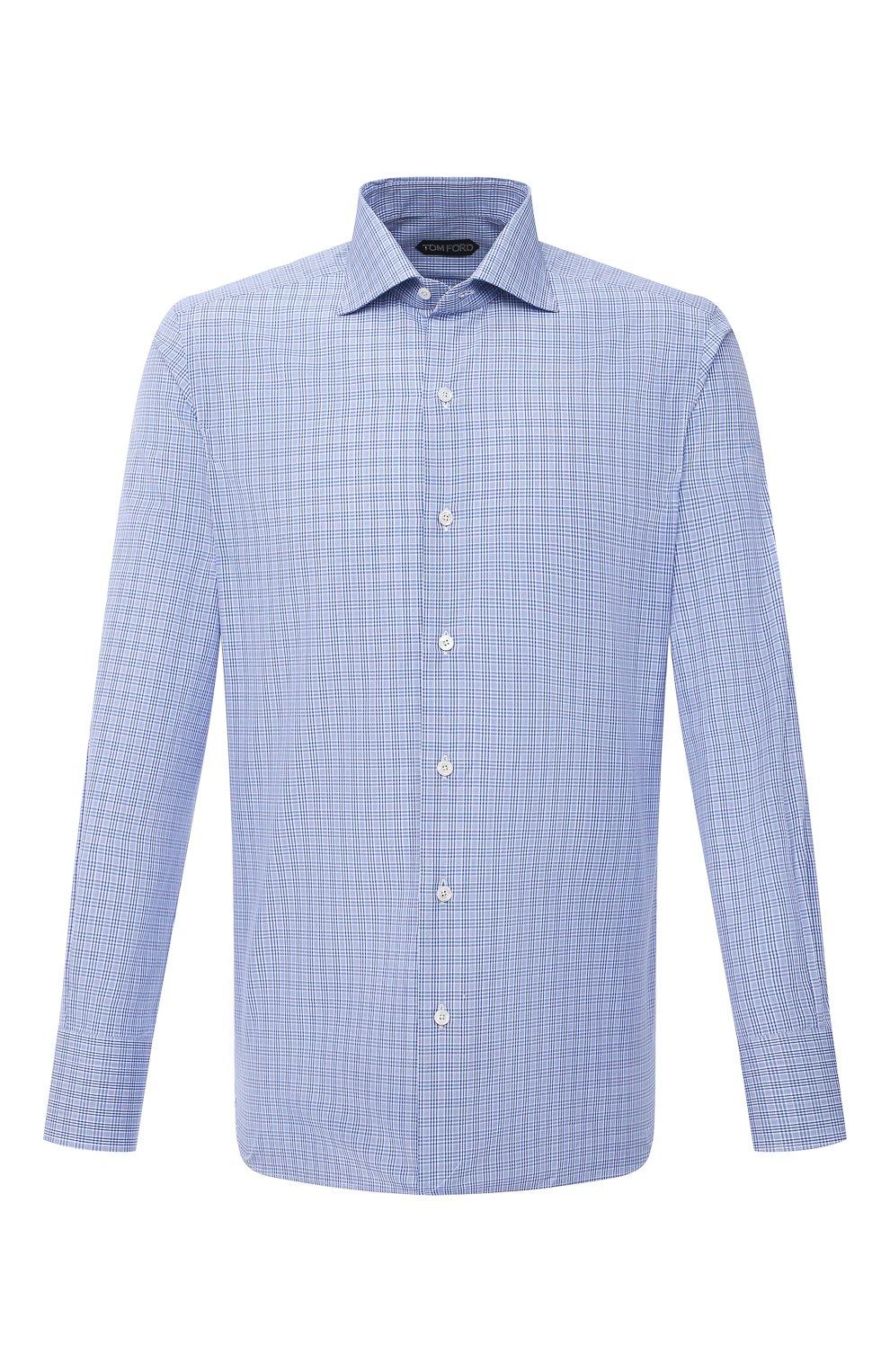 Мужская хлопковая сорочка TOM FORD синего цвета, арт. 9FT132/94S3AX | Фото 1