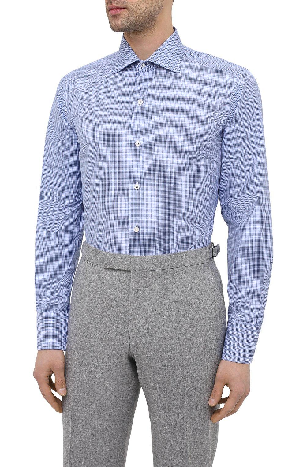 Мужская хлопковая сорочка TOM FORD синего цвета, арт. 9FT132/94S3AX | Фото 3