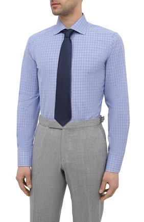 Мужская хлопковая сорочка TOM FORD синего цвета, арт. 9FT132/94S3AX | Фото 4