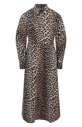 Женское хлопковое платье GANNI коричневого цвета, арт. F5454 | Фото 1