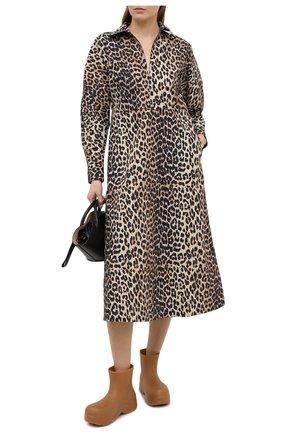 Женское хлопковое платье GANNI коричневого цвета, арт. F5454 | Фото 2