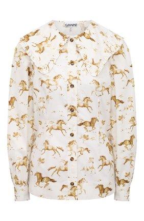 Женская хлопковая рубашка GANNI коричневого цвета, арт. F5452 | Фото 1