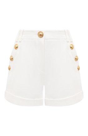 Женские хлопковые шорты BALMAIN белого цвета, арт. VF15010/C208   Фото 1