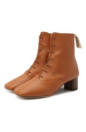 Женские кожаные ботильоны LOEWE светло-коричневого цвета, арт. L815286X04 | Фото 1