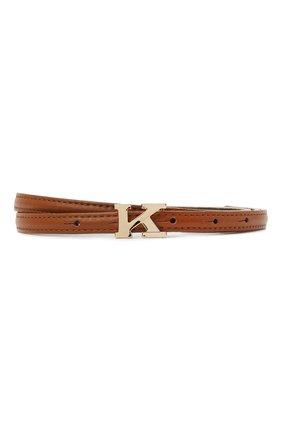 Женский кожаный ремень KITON коричневого цвета, арт. DCK12L0X04R81 | Фото 1 (Материал: Кожа)