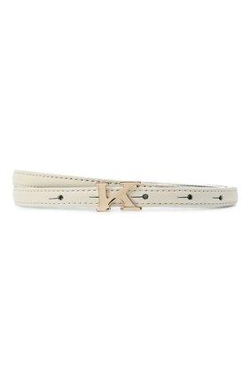 Женский кожаный ремень KITON белого цвета, арт. DCK12L0X04R81 | Фото 1 (Материал: Кожа)