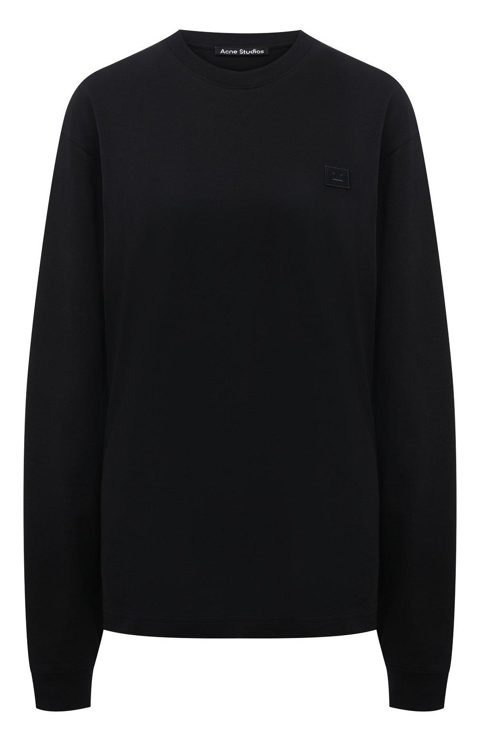 Женская хлопковый лонгслив ACNE STUDIOS черного цвета, арт. CL0087/W | Фото 1