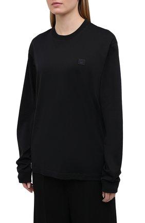 Женская хлопковый лонгслив ACNE STUDIOS черного цвета, арт. CL0087/W | Фото 3