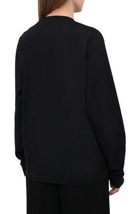 Женская хлопковый лонгслив ACNE STUDIOS черного цвета, арт. CL0087/W | Фото 4