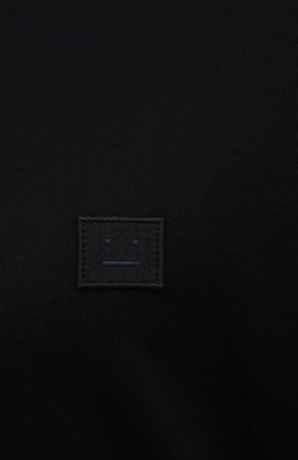 Женская хлопковый лонгслив ACNE STUDIOS черного цвета, арт. CL0087/W | Фото 5