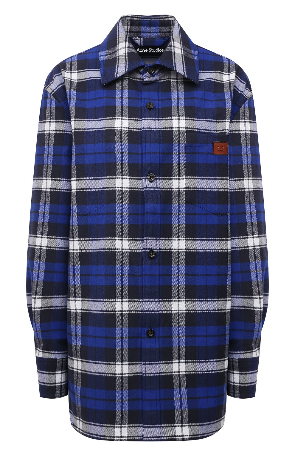 Женская хлопковая рубашка ACNE STUDIOS синего цвета, арт. CB0027/W   Фото 1