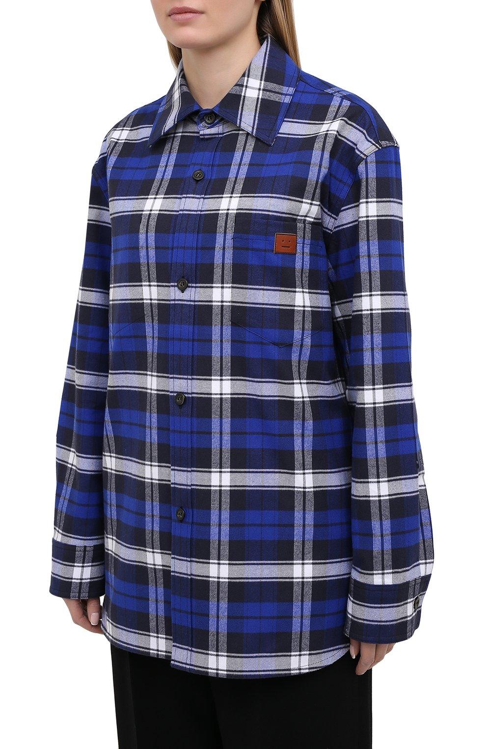 Женская хлопковая рубашка ACNE STUDIOS синего цвета, арт. CB0027/W   Фото 3