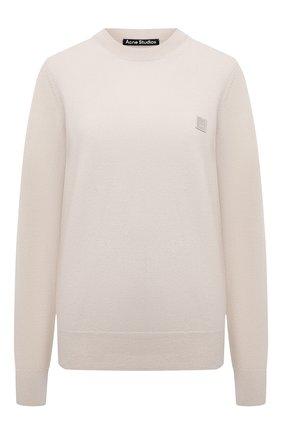 Женский шерстяной пуловер ACNE STUDIOS кремвого цвета, арт. C60025/W   Фото 1