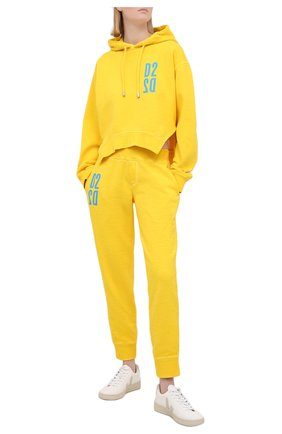 Женский хлопковое худи DSQUARED2 желтого цвета, арт. S75GU0348/S25030 | Фото 2