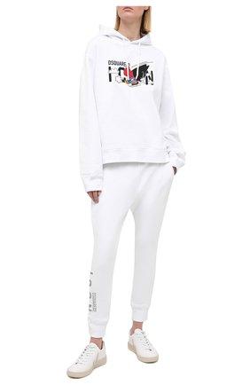 Женский хлопковое худи DSQUARED2 белого цвета, арт. S80GU0030/S25042 | Фото 2