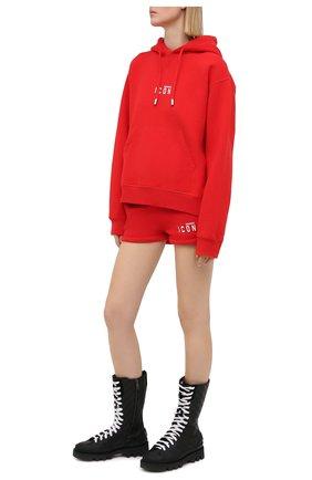 Женские хлопковые шорты DSQUARED2 красного цвета, арт. S80MU0007/S25042 | Фото 2