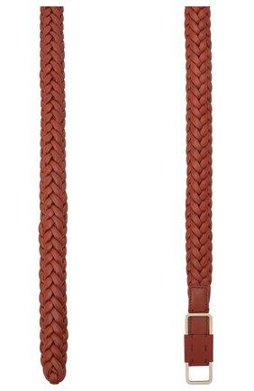 Женский кожаный ремень LORO PIANA коричневого цвета, арт. FAL6001   Фото 2 (Материал: Кожа)