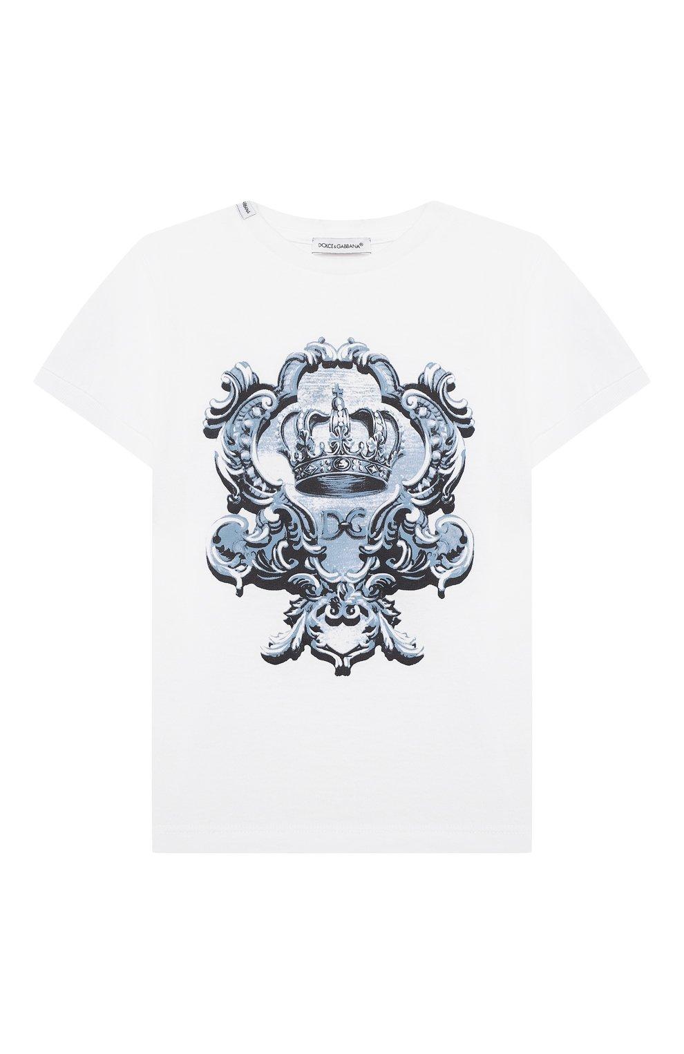 Детский хлопковая футболка DOLCE & GABBANA белого цвета, арт. L1JT6M/G7YBK | Фото 1