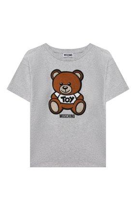 Детская хлопковая футболка MOSCHINO серого цвета, арт. H0M02X/LBA10/10A-14A | Фото 1