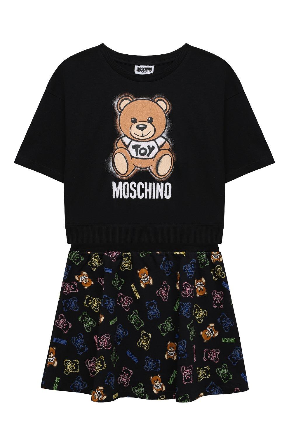 Детский комплект из футболки и юбки MOSCHINO черного цвета, арт. HDG004/LDB48/10A-14A   Фото 1