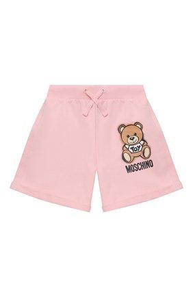 Детские хлопковые шорты MOSCHINO розового цвета, арт. HDQ007/LDA13/10A-14A | Фото 1