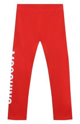 Детские хлопковые леггинсы MOSCHINO красного цвета, арт. HLP03U/LBA00/10A-14A | Фото 2