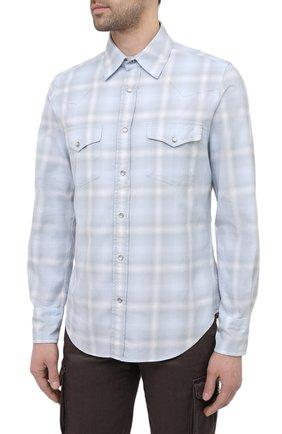 Мужская хлопковая рубашка TOM FORD светло-голубого цвета, арт. 9FT113/94MEKI | Фото 3