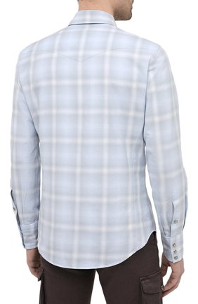 Мужская хлопковая рубашка TOM FORD светло-голубого цвета, арт. 9FT113/94MEKI | Фото 4